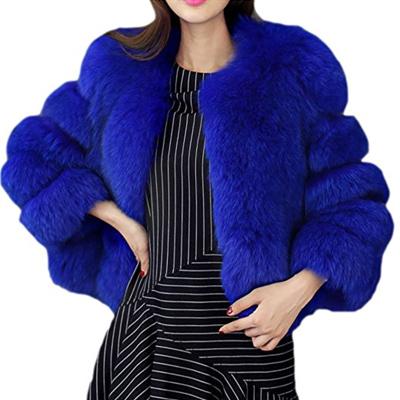 image d'une veste bleu en fourrure comme nicky minaj