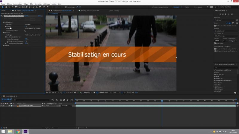 La stabilisation post-production