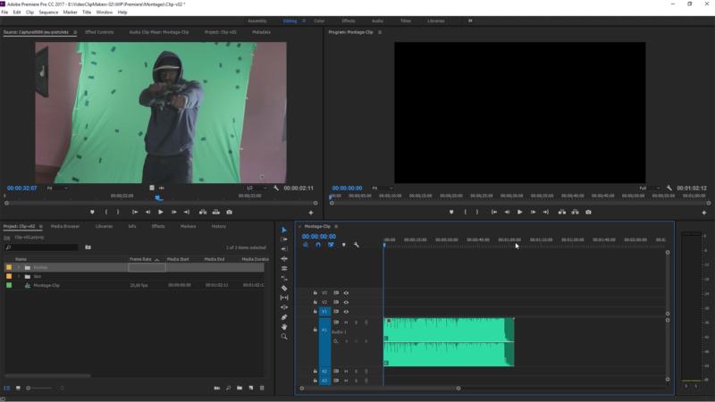 Montage des premières secondes du clip, calage sur les repères avec des effets de retime, choix des axes et valeurs de plan pour rythmer la vidéo