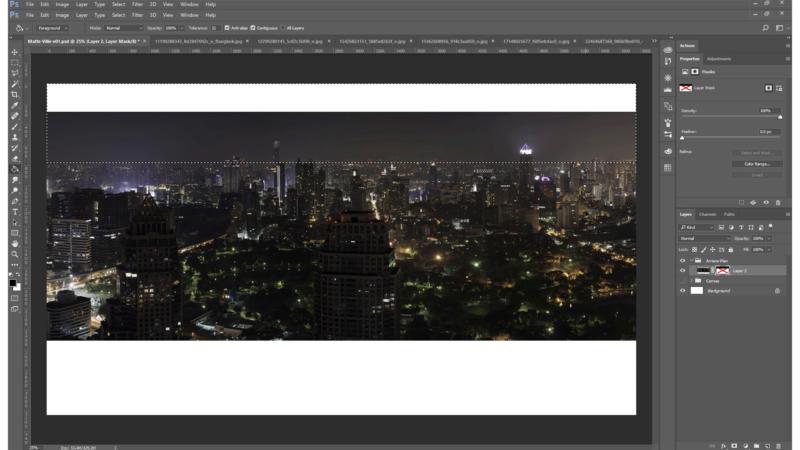 Création de l'arrière-plan : pose de l'arrière-plan, d'une couleur de fond qui sera la teinte du ciel et détourage des immeubles