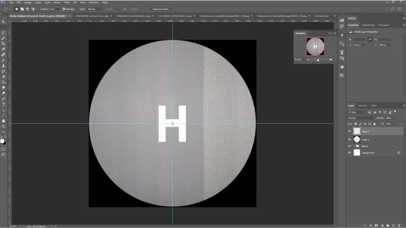Création de la base de sol de l'helipad à partir de textures téléchargées sur le web