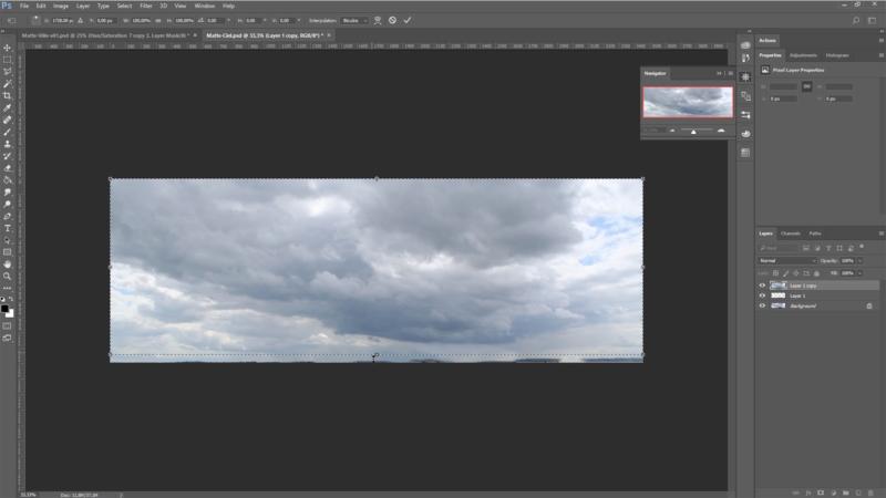 Ajout d'un ciel à partir d'une texture, étalonnage nuit sur Photoshop