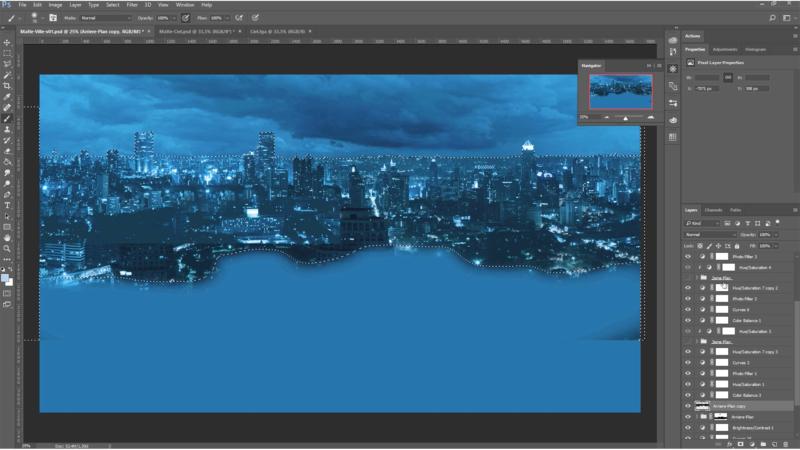 Export des calques des différents plans du matte un par un avec leur alpha depuis Photoshop